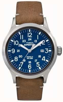 Timex 男装侦察员蓝色表盘棕色皮革表带 TW4B01800