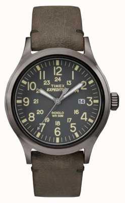 Timex 男装侦察员黑色表盘灰色皮革表带 TW4B01700