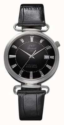 J&T Windmills 男士throgmorton机械手表黑色表盘纯银 WGS10005/04