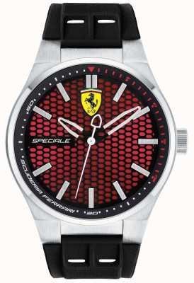 Scuderia Ferrari 男士特别黑色橡胶表带红色表盘 0830353