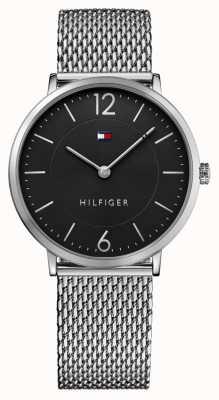Tommy Hilfiger 男士詹姆斯不锈钢网眼手链黑色表盘 1710355