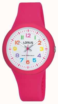 Lorus 男女皆宜的粉色橡胶表带白色表盘 RRX49EX9