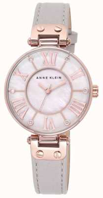Anne Klein 女式灰色真皮表带珍珠母贝表盘 10/N9918RGTP