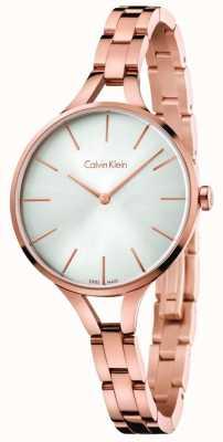Calvin Klein 女式图案玫瑰金色调手链银色表盘 K7E23646