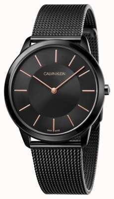 Calvin Klein 男士极简腕表 |黑色不锈钢网状表带| K3M21421