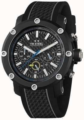 TW Steel 男士黑色橡胶表带黑色计时码表表盘 TW937