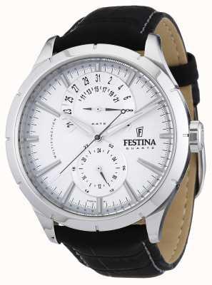 Festina 男士黑色皮革表带白色 F16573/1