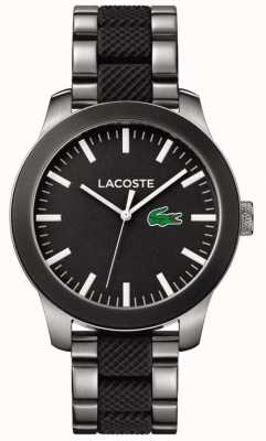 Lacoste 男士黑色表盘黑色橡胶和不锈钢表带 2010890