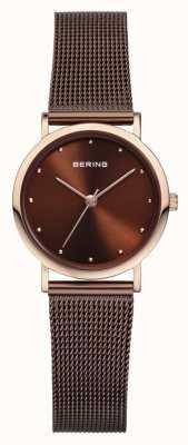 Bering 女人不锈钢棕色网状表带 13426-265