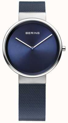 Bering 男女皆宜的蓝色镀铁钢网表带 14531-307