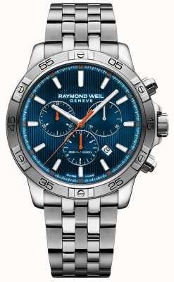 Raymond Weil 男士探戈43毫米蓝色计时码表盘不锈钢 8560-ST2-50001