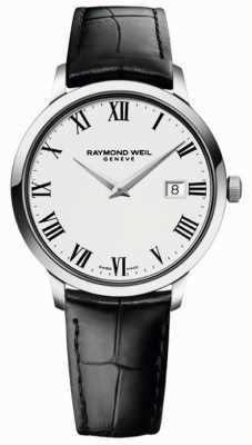 Raymond Weil 男士苗条白色黑色皮革表带 5488-STC-00300