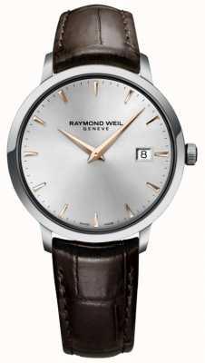 Raymond Weil 男士纤细银色棕色皮革表带 5488-SL5-65001
