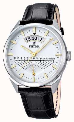 Festina 男士黑色真皮表带银色表盘 F16873/2