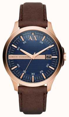 Armani Exchange 男士棕色皮革表带玫瑰金外壳 AX2172