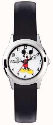 Disney Adult 米老鼠小孩银色表壳黑色表带 MK1314