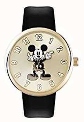 Disney Adult 米老鼠黄金表壳黑色表带 MK1443