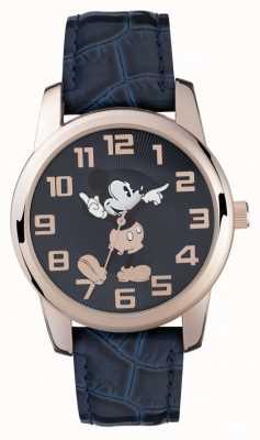 Disney Adult 米奇鼠标玫瑰金表壳蓝色表带 MK1456