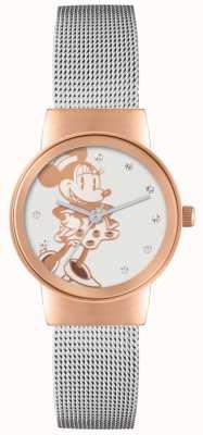 Disney Adult 米妮鼠标玫瑰金表壳银色网状表带 MN1312