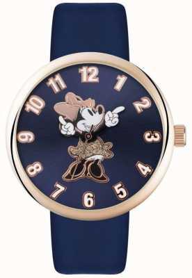 Disney Adult 米妮鼠标玫瑰金表壳蓝色表带 MN1471