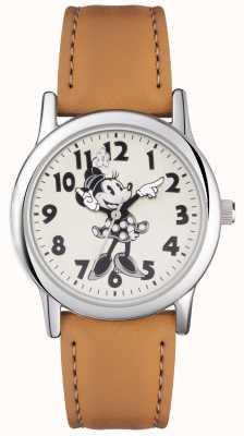 Disney Adult 米妮鼠标银色表壳棕褐色表带 MN1550