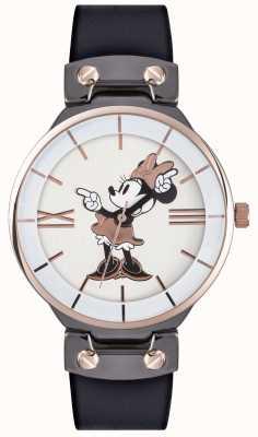 Disney Adult 米妮鼠标玫瑰金表壳黑色表带 MN1564