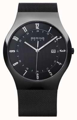 Bering 男士太阳能米兰尼斯黑色网状表带 14640-222