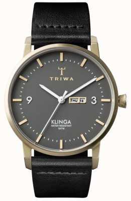 Triwa 中性灰klinga黑色皮革 KLST107-CL010117