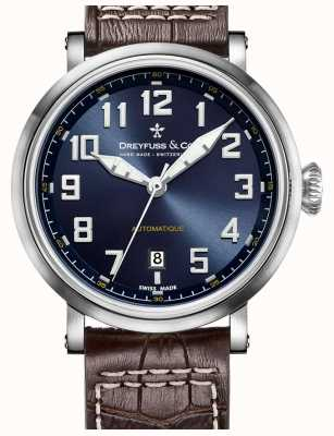 Dreyfuss 男士automatique棕色真皮表带蓝色表盘 DGS00153/52