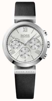 Boss 女式经典运动黑色真皮表带银色表盘 1502395