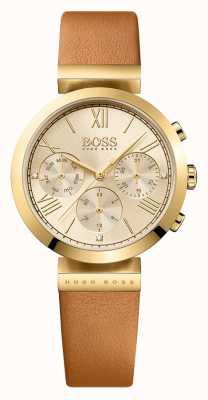 Hugo Boss 女装经典运动棕色真皮表带金表盘 1502396