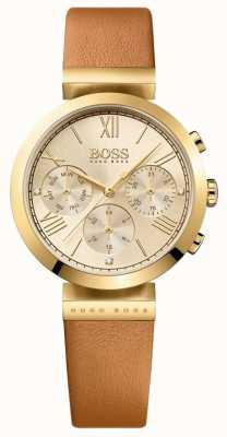 Boss 女式经典运动棕色真皮表带金色表盘 1502396