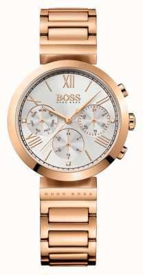 Hugo Boss 女装经典运动玫瑰金镀银手链银色表盘 1502399