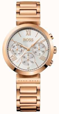 Boss 女式经典运动玫瑰金镀金手链银色表盘 1502399