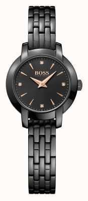Hugo Boss 女装成功黑色镀钢手镯黑色表盘 1502387