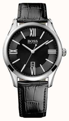 Hugo Boss 男装大使黑色皮表带黑色表盘 1513022