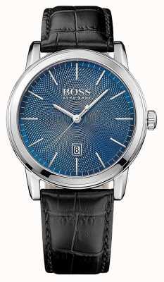 Hugo Boss 男士经典黑色皮革表带蓝色表盘 1513400