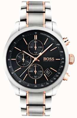 Boss 男士grand prix不锈钢表链黑色表盘 1513473