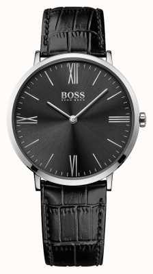 Hugo Boss 男士杰克逊黑色皮革表带黑色表盘 1513369
