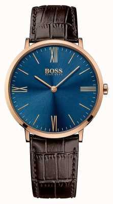 Hugo Boss 男士杰克逊棕色真皮表带蓝色表盘 1513458