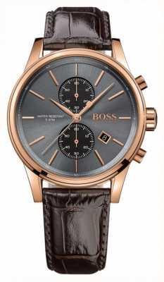 Hugo Boss 男士喷射棕色皮革表带灰色表盘 1513281
