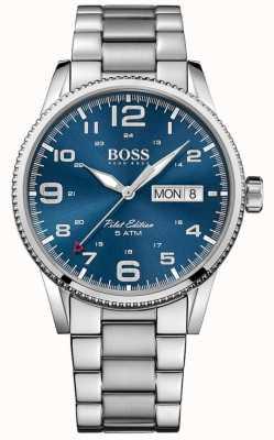 Hugo Boss 男士飞行员复古不锈钢表链蓝色表盘 1513329