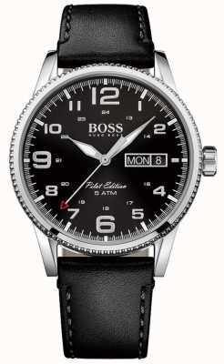 Hugo Boss 男士飞行员复古黑色皮革表带黑色表盘 1513330