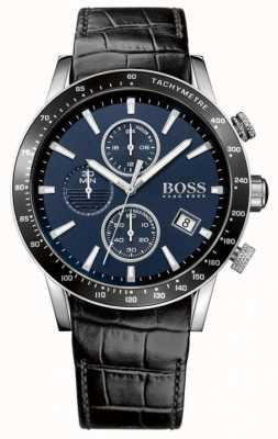 Hugo Boss 男士黑色皮革表带蓝色表盘 1513391