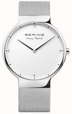 Bering 男士最大rené可互换网带银 15540-004