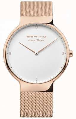Bering 男士maxrené可互换网带玫瑰金 15540-364