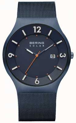 Bering 男士太阳能蓝色米兰网眼表带 14440-393