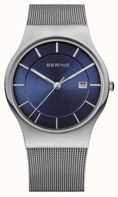 Bering 男士米兰网表带蓝色脸部表 11938-003
