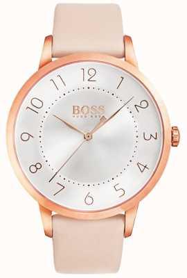 Boss 女性日食粉色皮革手表 1502407