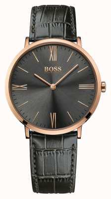 Hugo Boss 男士杰克逊灰色皮革手表 1513372
